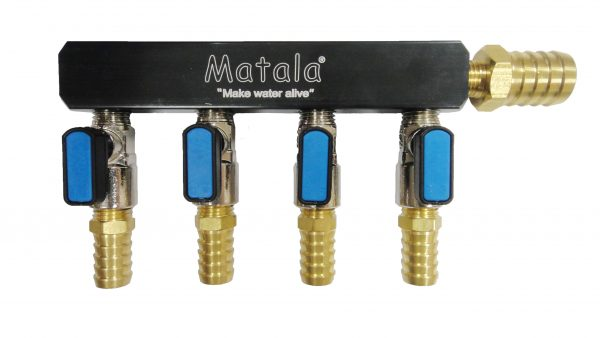 Matala Four (4) Valve, Heavy Duty, Air Manifold - 3/8 inch barb