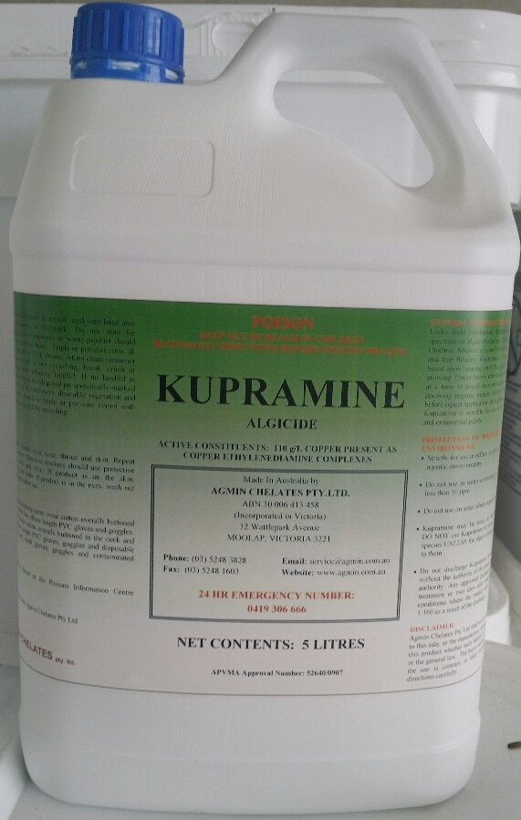 Kupramine Algicide and Aquatic Weed Control Agent 5L Clearwater Lakes and Ponds