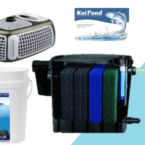Filter bundle - Matala biosteps 10 biological pond filter, Messner eco x2 pond pond, nitrifying bacteria biological water treatment and algae lift water treatment for cleaning ponds.